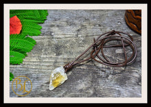 Load image into Gallery viewer, Raw Citrine Pendant with 2mm Leather Cord Choose your leather Cord Raw Citrine Pendant Citrine Necklace Solar Plexus Raw Citrine Necklace