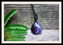 Load image into Gallery viewer, Amethyst Pendant with 2mm Leather Cord Choose your leather Cord Polished Amethyst Pendant Amethyst Necklace Crown Chakra Amethyst Pendant