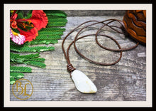Load image into Gallery viewer, Moonstone Pendant with 2mm Leather Cord Choose your leather Cord Moonstone Pendant Necklace Moonstone Pendant Leather Cord Chakra Necklace
