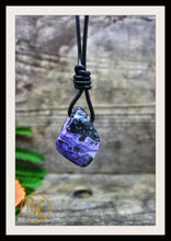 Load image into Gallery viewer, Charoite Gemstone Pendant with 2mm Leather Cord Choose your leather Cord Polished Charoite Pendant Leather Necklace Drilled Charoite Pendant