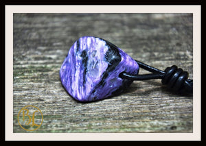 Charoite Gemstone Pendant with 2mm Leather Cord Choose your leather Cord Polished Charoite Pendant Leather Necklace Drilled Charoite Pendant