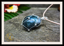 Load image into Gallery viewer, Moss Agate 925 Sterling Silver Wire Pendant 2mm Leather Cord Choose your Color Cord Polished Moss Agate Pendant Moss Agate Leather Necklace