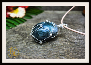 Moss Agate 925 Sterling Silver Wire Pendant 2mm Leather Cord Choose your Color Cord Polished Moss Agate Pendant Moss Agate Leather Necklace