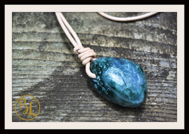 Moss Agate Pendant 2mm Leather Cord Choose your Color Cord Polished Moss Agate Drilled Pendant Moss Agate Leather Necklace Chakra Pendant