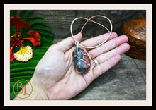 Load image into Gallery viewer, Bloodstone 925 Sterling Silver Wire Pendant 2mm Leather Cord Choose your Color Bloodstone Silver Wire Pendant Bloodstone Leather Necklace