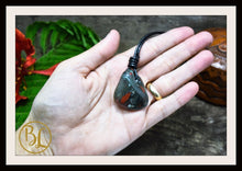 Load image into Gallery viewer, Bloodstone Pendant 2mm Leather Cord Choose your Color Drilled Bloodstone Pendant Bloodstone Leather Necklace