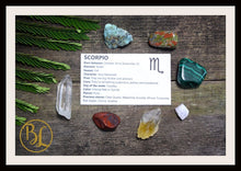 Load image into Gallery viewer, SCORPIO Gemstone Kit 7 Zodiac Scorpio Gemstones Set Healing Crystals Healing Zodiac Scorpio Intention Set Lithiotherapy Scorpio Stones Set