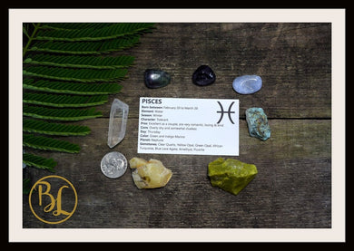 PISCES Gemstone Kit 7 Zodiac Pisces Gemstones Set Healing Crystals Zodiac Pisces Set Intention Set Lithiotherapy Pisces Crystals Stones Set