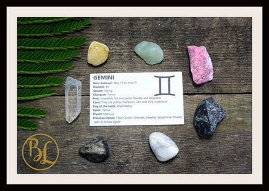 GEMINI Gemstone 7 Kit Zodiac Gemini Gemstone Set Healing Crystals Stone Healing Zodiac Gemini Intention Stone Lithiotherapy Gemini Stone Set