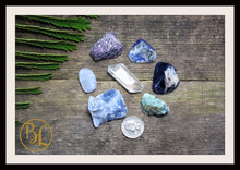Load image into Gallery viewer, THROAT CHAKRA Gemstone 7 Kit Healing Throat Chakra Crystal Throat Chakra Crystal Set Intention Stones Lithiotherapy Throat Chakra Stone Set