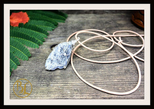 Raw Iolite 925 Sterling Silver Wire Pendant with 2mm Leather Cord Choose your leather Cord Polished Raw Iolite Pendant Iolite Necklace