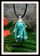 Load image into Gallery viewer, Malachite 925 Sterling Silver Wire Pendant with 2mm Leather Cord Choose your leather Cord Polished Malachite Pendant Malachite Necklace