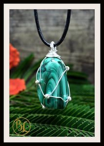 Malachite 925 Sterling Silver Wire Pendant with 2mm Leather Cord Choose your leather Cord Polished Malachite Pendant Malachite Necklace