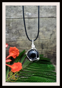 Black Obsidian 925 Sterling Silver Wire Pendant with Leather Cord Choose your leather Cord Black Obsidian Pendant Black Obsidian Necklace