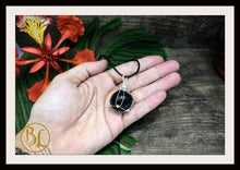 Load image into Gallery viewer, Black Obsidian 925 Sterling Silver Wire Pendant with Leather Cord Choose your leather Cord Black Obsidian Pendant Black Obsidian Necklace