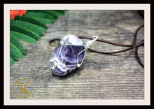Load image into Gallery viewer, Amethyst 925 Sterling Silver Wire Pendant with 2mm Leather Cord Choose your leather Cord Polished Amethyst Silver Pendant Amethyst Necklace