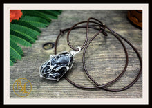 Load image into Gallery viewer, Apache Tear 925 Sterling Silver Wire Pendant with 2mm Leather Cord Choose your leather Cord Apache Tear Silver Pendant Apache Tear Necklace