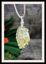 Load image into Gallery viewer, Raw Citrine 925 Sterling Silver Wire Pendant with 2mm Leather Cord Choose your leather Cord Raw Citrine Silver Pendant Citrine Necklace