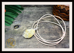 Raw Citrine 925 Sterling Silver Wire Pendant with 2mm Leather Cord Choose your leather Cord Raw Citrine Silver Pendant Citrine Necklace