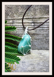 Green Aventurine 925 Sterling Silver Wire Pendant with 2mm Leather Cord Choose your leather Cord Green Aventurine Silver Pendant Necklace