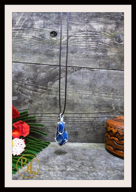 Sodalite 925 Sterling Silver Wire Pendant with 2mm Leather Cord Choose your leather Cord Sodalite 925 Silver Pendant Necklace Sodalite