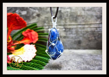 Load image into Gallery viewer, Sodalite 925 Sterling Silver Wire Pendant with 2mm Leather Cord Choose your leather Cord Sodalite 925 Silver Pendant Necklace Sodalite