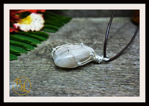 Peach Moonstone 925 Sterling Silver Wire Pendant with 2mm Leather Cord Choose your leather Cord Peach Moonstone 925 Pendant Necklace