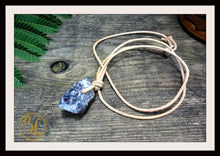 Load image into Gallery viewer, Raw Iolite Pendant with 2mm Leather Cord Choose your leather Cord Raw Iolite Pendant Iolite Necklace Third Eye Chakra Iolite Pendant Iolite