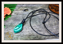 Load image into Gallery viewer, Malachite Pendant with 2mm Leather Cord Choose your leather Cord Polished Malachite Pendant Malachite Necklace Heart Chakra Pendant Necklace