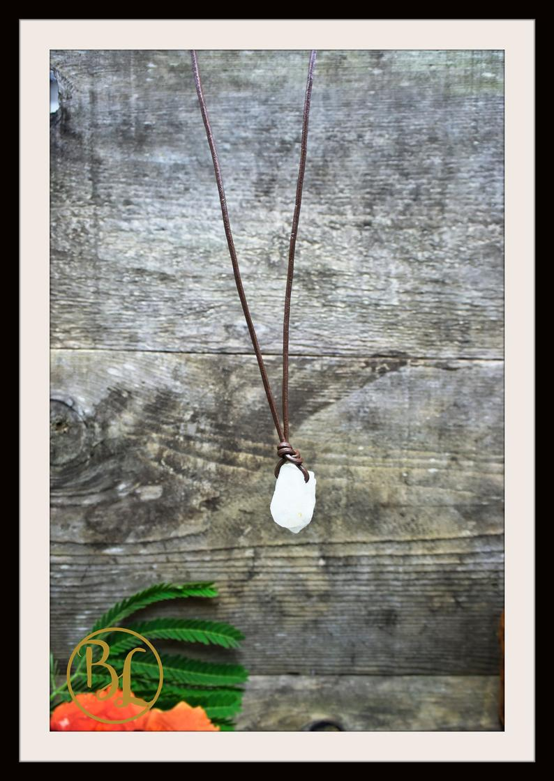 Moonstone Pendant with 2mm Leather Cord Choose your leather Cord Moonstone Pendant Necklace Rough Moonstone Pendant Leather Cord Necklace
