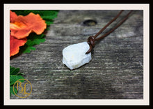 Load image into Gallery viewer, Moonstone Pendant with 2mm Leather Cord Choose your leather Cord Moonstone Pendant Necklace Rough Moonstone Pendant Leather Cord Necklace