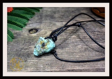Load image into Gallery viewer, Raw Turquoise Pendant w/ 2mm Leather Cord Choose your leather Cord Turquoise Pendant Necklace Rough Turquoise Pendant Leather Cord Necklace