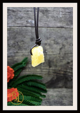 Load image into Gallery viewer, Raw Orange Calcite Pendant w/ 2mm Leather Cord Choose your leather Cord Orange Calcite Pendant Necklace Rough Orange Calcite Pendant Leather