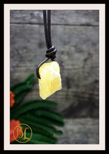 Raw Orange Calcite Pendant w/ 2mm Leather Cord Choose your leather Cord Orange Calcite Pendant Necklace Rough Orange Calcite Pendant Leather