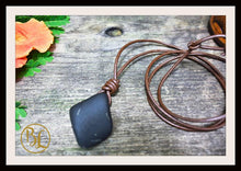 Load image into Gallery viewer, Shungite Pendant with 2mm Leather Cord Choose your leather Cord Shungite Pendant Leather Shungite Chakra Pendant Black Gemstone Pendant