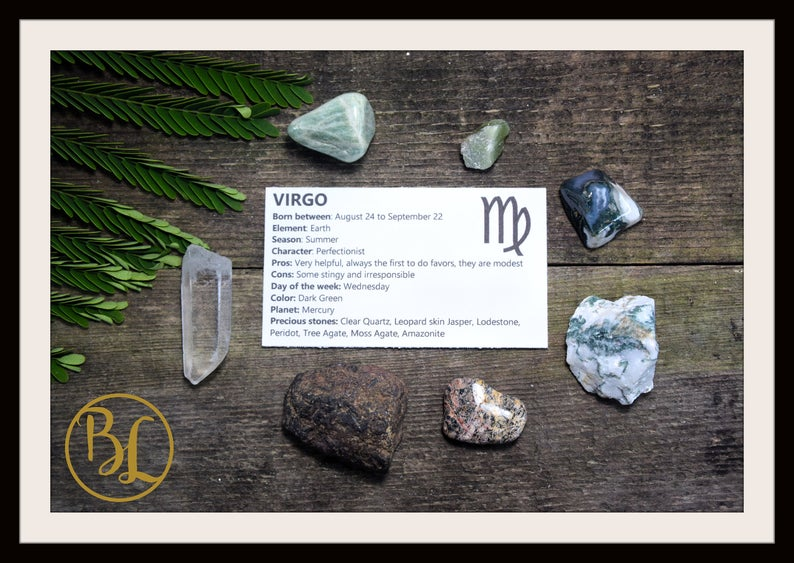 VIRGO Gemstone Kit 7 Zodiac Virgo Gemstones Set Healing Crystals Healing Zodiac Virgo Intention Set Lithiotherapy Virgo Crystals Stones Set