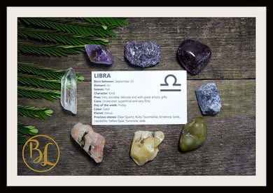 LIBRA Gemstone Kit 8 Zodiac Libra Gemstones Set Healing Crystals Healing Zodiac Libra Intention Set Lithiotherapy Libra Crystals Stones Set