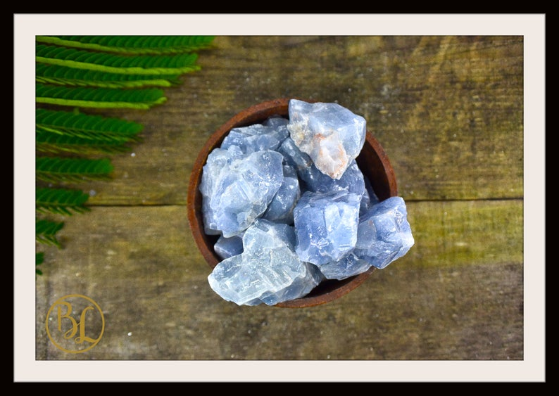RAW BLUE CALCITE Gemstone 3 Piece Set Healing Blue Calcite Crystal Kit Calcite Intention Stone Set Lithiotherapy Healing Blue Calcite Set