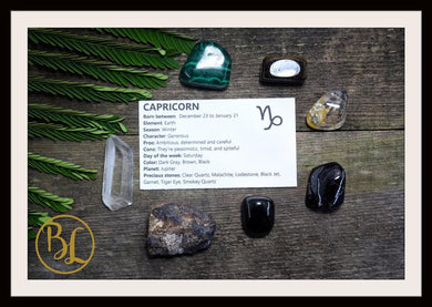 CAPRICORN Gemstone Kit 7 Zodiac Capricorn Gemstones Set Healing Crystals Zodiac Capricorn Intention Set Lithiotherapy Capricorn Stones Set
