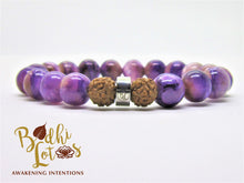 Load image into Gallery viewer, Genuine Charoite Bracelet Purple Gemstone Mala Crown Chakra Bracelet Charoite Bracelet