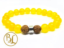 Load image into Gallery viewer, Genuine Yellow Jade Bracelet Yellow Bracelet Manipura Bracelet Yellow Jade Bracelet Yellow Jade Yoga Meditation Bracelet Minimalist Mala