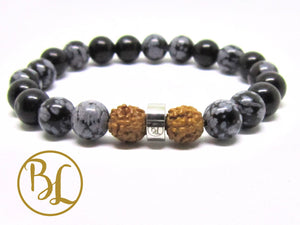 Natural  Snowflake Obsidian Bracelet Root Chakra Bracelet Snowflake Obsidian Detox Bracelet