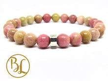 Load image into Gallery viewer, Natural  Rhodonite Bracelet Pink Gemstone  Bracelet Gemstone Mala Rhodonite Bracelet Rhodonite