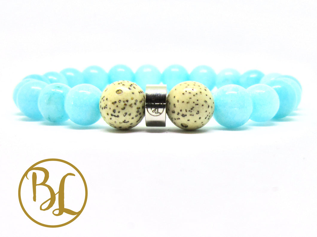 Amazonite Natural  Bracelet Third Eye Chakra Bracelet Aqua Blue Gemstone Bracelet Love Power