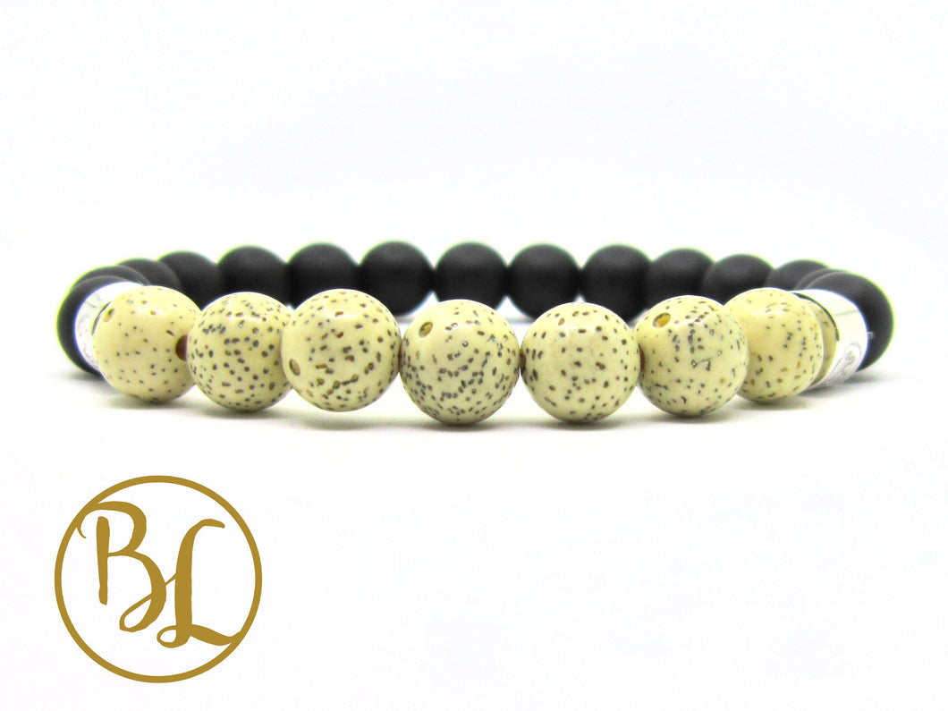 Natural  Black Frost Lotus Seed 925 Onyx Bracelet Black Frost Onyx Gemstone Mala Black Onyx