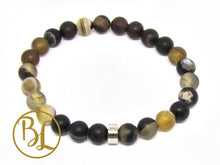 Load image into Gallery viewer, Natural  Brown Stripe Agate Bracelet Brown Bracelet Brown Banded Agate Frost Bracelet Yoga