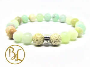 Raw Amazonite Genuine Bracelet Third Eye Chakra Bracelet Aqua Gemstone Mala Love Power Mala