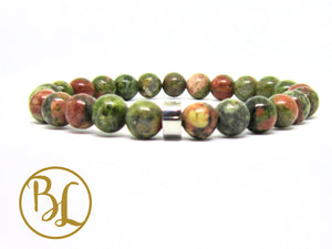 Natural  Unakite Bracelet Green and Pink Unakite Mala Gemstone Mala Unakite Bracelet Epidote
