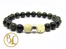 Load image into Gallery viewer, Natural  Gold Sheen Obsidian Bracelet Manipura Chakra Mala Bracelet, Gold Sheen Obsidian Bracelet, Gold Sheen Obsidian Yoga Meditation