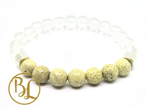 Natural  Clear Quartz Lotus Seed Bracelet Clear Quartz Chakra Bracelet Energy Clear Quartz Mala
